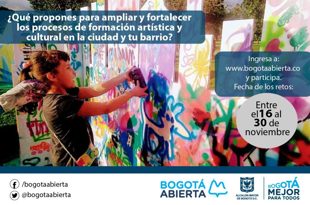 ¿Qué propones para ampliar y fortalecer los procesos de formación artística y cultural en la ciudad y tu barrio?