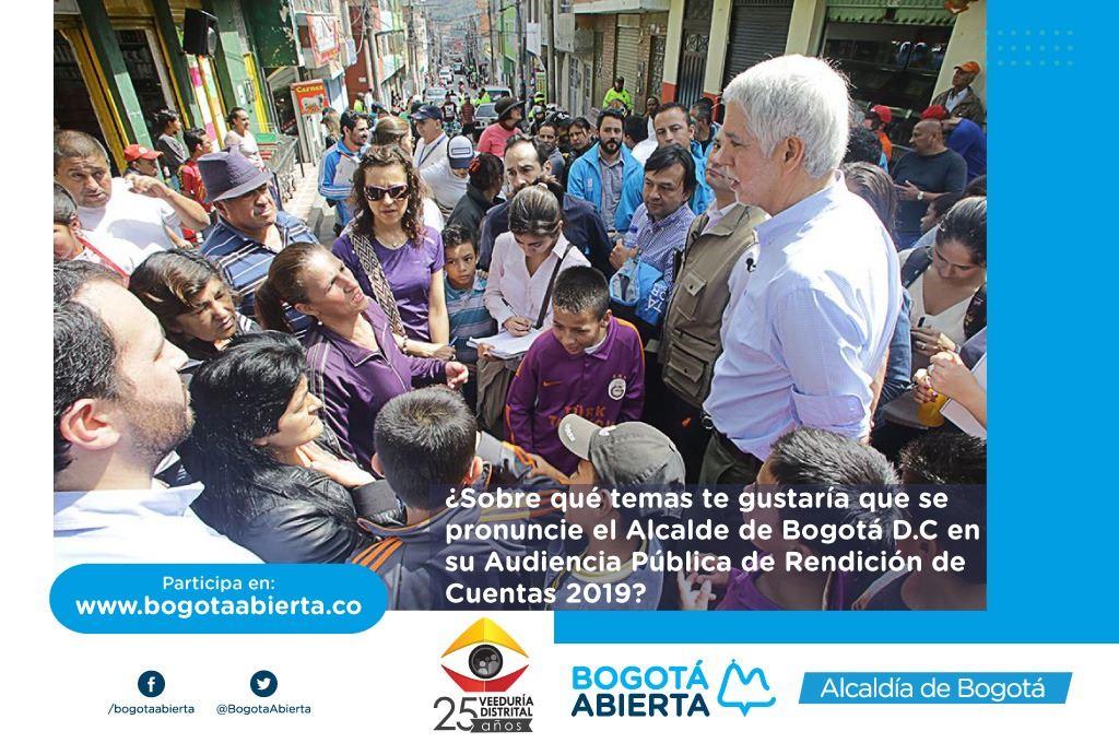 ¿Sobre qué temas te gustaría que el Alcalde Mayor de Bogotá se pronuncie en su rendición de cuentas este 2019?