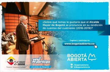 ¿Sobre qué temas le gustaría que el Alcalde Mayor de Bogotá se pronuncie en su rendición de cuentas del cuatrienio?
